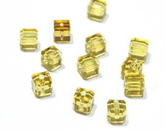 Vintage Yellow Citirine Glass Cube Beads 6mm 12pcs