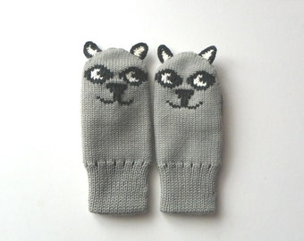 Cat mittens thick winter mittens with lining animal kids mittens grey gloves READY TO SHIP