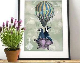 penguin wall art - Flying Penguins - Hot air balloon print Penguin Nursery Art for Kids Room Décor Penguin art cute penguin penguin gift