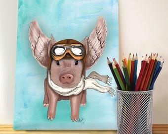 Aviator Piggy  - Flying pig illustration flying pig print children's decor kids room decor pig picture Wall Decor Wall hanging Wall art
