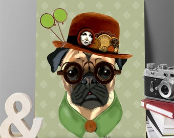 Pug Canvas Art Print - Pug in Bowler - Steampunk pug print pug canvas wall art gift for husband dog canvas wall art dog canvas print pug art