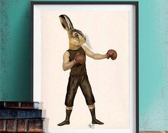 Hare Art Print - Boxing Hare print hare illustration hare canvas print art Rabbit décor rabbit print whimsical wall decor Living room art