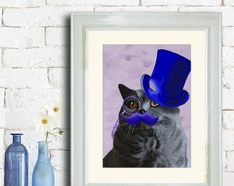 British shorthair Cat Art Print - Blue Top Hat - british blue cat gift for cat lovers funny cat poster cat wall decor grey cat art print