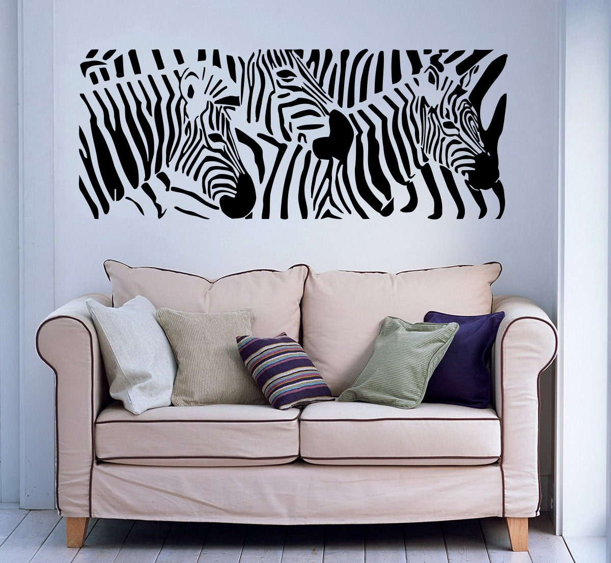 wall decals zebra animals jungle safari african childrens. Black Bedroom Furniture Sets. Home Design Ideas