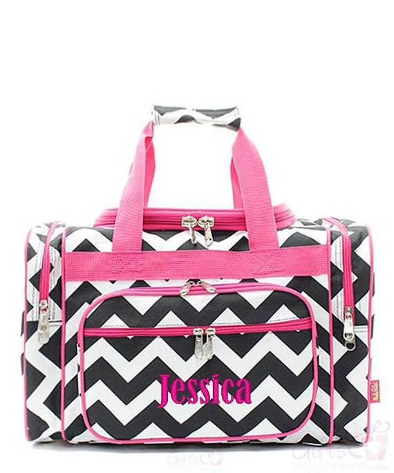 Personalized duffle bag monogrammed chevron by giftshappenhere