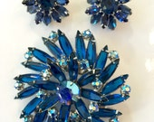 Vintage Jewelry Brooch Earrings / Blue Rhinestone Pin Demi / Antique Jewelry / Bridal Brooch / Wedding Jewelry Brooch / Bridesmaid Bouquet
