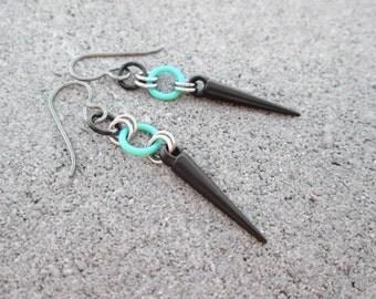 Black Spike Earrings, Small Dangle Earrings, Black Dangle Earrings, Hypoallergenic Earrings, Seafoam Green Earrings, Small Spike Earrings
