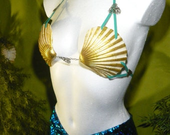 Golden Siren - glamorous Mermaid Bikini made from real Scallops
