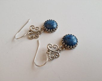 Sterling Silver Earrings with Round 12mm Denim Lapis Cabochon