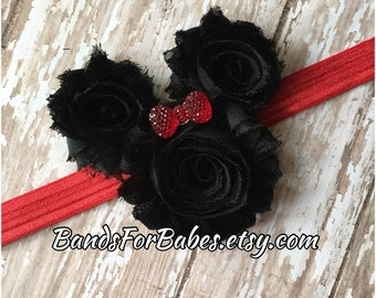 Minnie Mouse Inspired Shavby Chic Flower Headband, Baby Headband, Toddler Headband, Girls Headband, Hair Bow