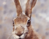 Aceo Print, Wild Hare. From an Original Painting by Award Winning Artist JOHN SILVER. Personally signed. HA005AC