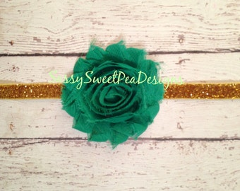 Pot of Gold Emerald Green Shabby Chic Flower on Gold GLITTER Headband.. Newborn, Baby, Girls Bows...St Patrick's Day Headband