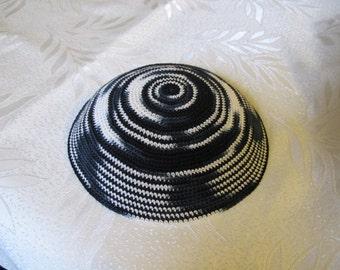 Dark Blue shades Kippah. Handmade Crochet Kippah. Hand knitting Yarmulke. Cotton Yarn. For everyday use or holidays and Shabbat. Delicate.