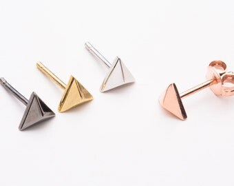 Pyramid studs,  K14 pyramid earrings,  Solid gold pyramid posts,  Rose pyramid studs,  Pyramid earrings,  Pyramid studs