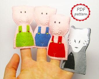 Felt finger puppets PATTERN Three Little Pigs Wolf set PDF sewing tutorial instructions Handmade cute soft animal toys DIY- Instant Dawnload
