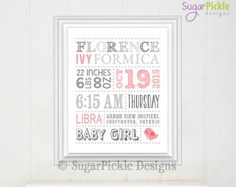 Baby Girl Birth Announcement // Pink Nursery Decor // Baby Subway Art // Custom Birth Stats// Nursery Birth Stats 11x14