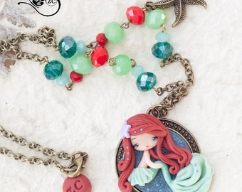 polymer clay necklace / Ariel / disney / princess / clay