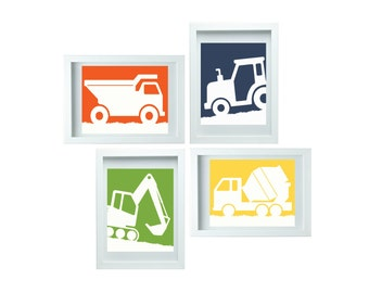 Construction Truck Wall Art Dump Truck Wall Art Boy Room Wall Art Construction Decor Set of 4 - 8x10 Childrens Room or Playroom Wall Art