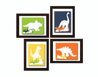 Colorful Dinosaur Wall Decor, Dinosaur Decoration, Dinosaur Wall Art, Dinosaur Nursery Decor, Baby Boy Nursery Decor, Dinosaur Nursery,