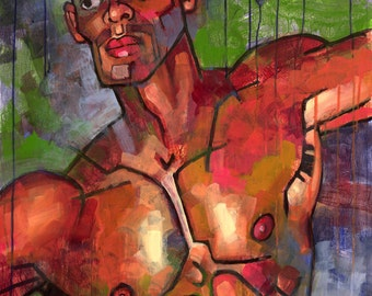 Rogério at the Tunnel, Original Painting of Shirtless Muscular Brazilian Male