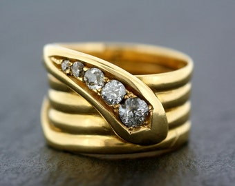 Antique Snake Ring - Victorian 18ct Gold Diamond Antique Snake Ring