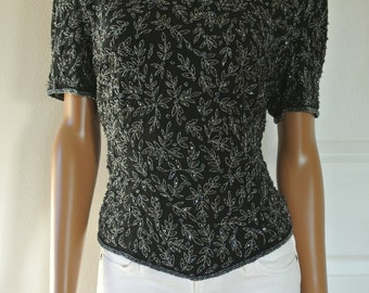 Deco Silver Metallic Embroidery Beaded Blouse Silk Glam Trophy Black Short Sleeves Size L