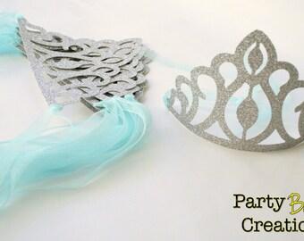 Princess Crowns tiaras frosty frozen Party Favors - Set of 8