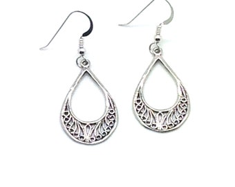 Perfect With Anything, Sterling Silver, Filigree, Hoop, Hook Earrings, Gift Idea, Simple Yet Elegant