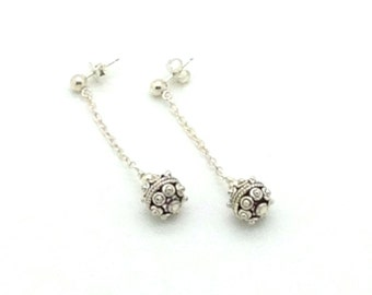 Ball and Chain, Sterling Silver, Chain, Post Earrings, Earrings, Gift Idea