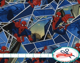 SPIDERMAN Fabric by the Yard, Fat Quarter MARVEL Comics Fabric Spider Man Fabric Boy Quilting Fabric 100% Cotton Fabric Apparel Fabric t6-35