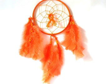 "Dream Catcher 6"" Round, Bright Orange Feathers and Orange Beads"
