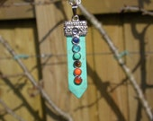 Katrin Howlite Turquoise Chakra Sword Necklace - Silver Chain