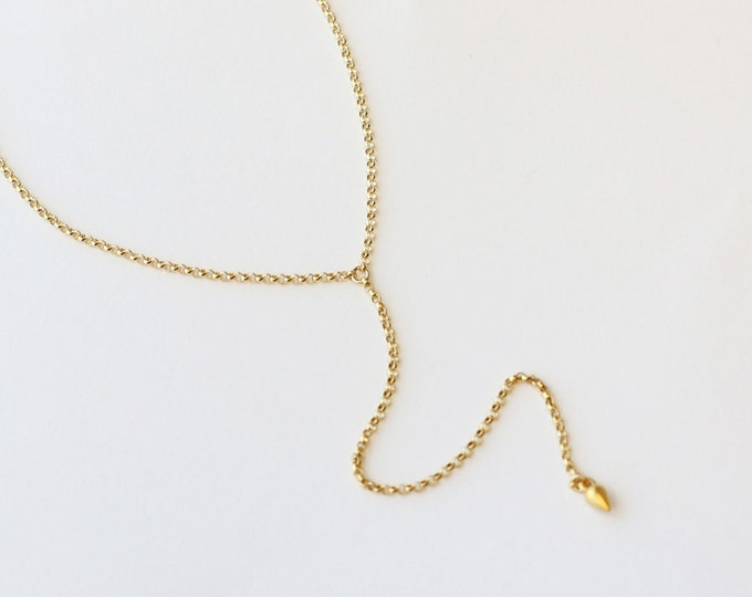 Simple Rolo Lariat Necklace - Gold filled /Sterling silver Y lariat necklace   EL011