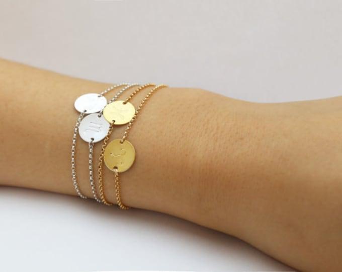 Zodiac Bracelet - Gold filled /Sterling silver disc bracelet   EB014