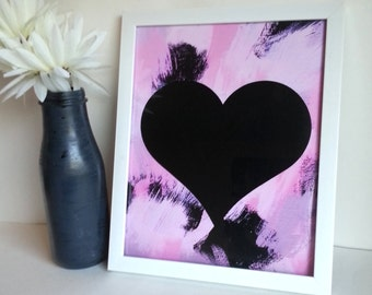 black heart art print poster, for baby nursery, dorm room, apartment, or home decor, 4x6, 8x10, 11x14, 13x19