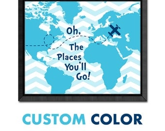 oh the places you'll go map nursery, dr seuss quotes, airplane kids wall art,playroom oh the places youll go, world map motivational nursery