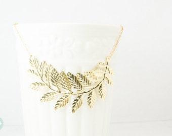 Leaf necklace, statement necklace, gold leaf necklace, gold necklace, wedding necklace, leaf statement necklace, cute leaf necklace