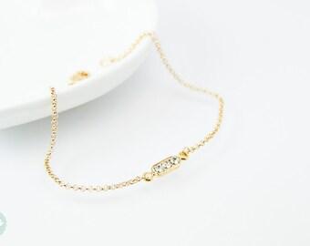 Gold tube bracelet, Beaded Bracelet, gold tube chain, tube chain bracelet, Friendship bracelet, gold chain bracelet, mini cubic bracelet