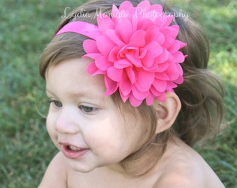 Pink flower headband, baby girl headbands, bubblegum pink flower, infant headbands, newborn headbands, pink headbands, flower girl