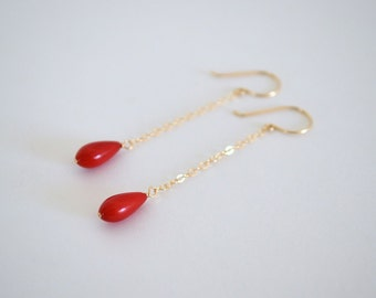 Red Coral Drop Earrings, Gold Filled