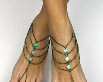 Mint Green Bohemian Anklet Barefoot Sandals Boho Foot Jewelry Mint Green Anklet Mint Green Jewelry Boho sandals Bare Foot Sandals Gypsy Shoe