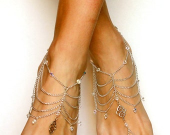 Tribal Barefoot Sandals with Swarovski Crystals Beach Wedding Sandals Wedding Gift for Bride Foot Jewelry Bridal Anklet Tribal Foot Chain