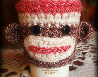 Crochet Pattern ~ Sock Monkey Cup Cozy