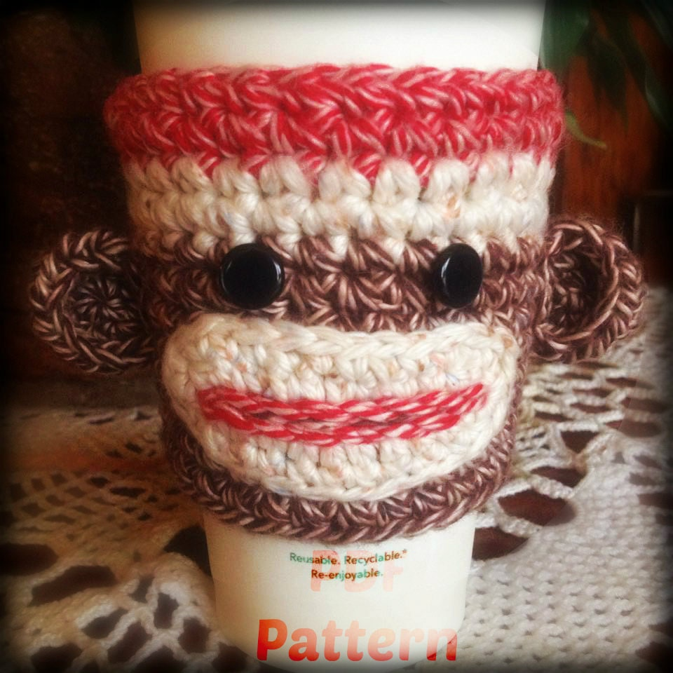 Crochet pattern sock monkey cup cozy from unraveledewe for Cup cozy pillow