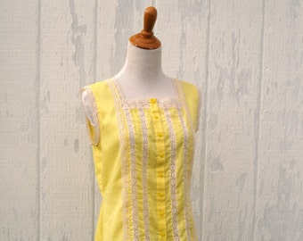 Yellow and Lace Camisole with Buttons 1970's