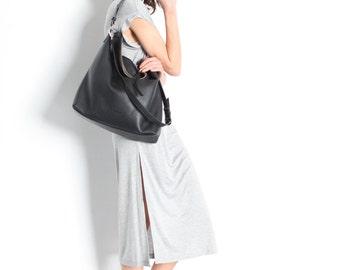 "Black Leather Hobo Bag, Top Handle Bag, Pebbled Italian Leather Tote Bag, Large Crossbody Bag ""Ava Hobo Bag"""