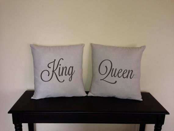 King Queen decorative pillow covers for home and showers His