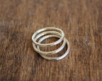 Simple Sterling Silver Stacking Rings Set of Three