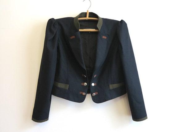 femme vintage black dirndl veste allemande trachten short. Black Bedroom Furniture Sets. Home Design Ideas