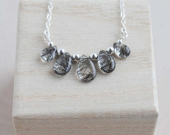 Tourmalinated Quartz Necklace, Gemstone Necklace, Tourmalinated Quartz Jewelry
